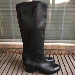 Sam Edelman Black Leather Lea Pull On Boots